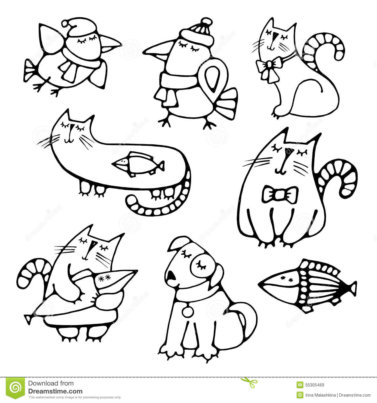 Line Drawing Pet Animals : Set of cute hand drawn contour animals pets stock vector