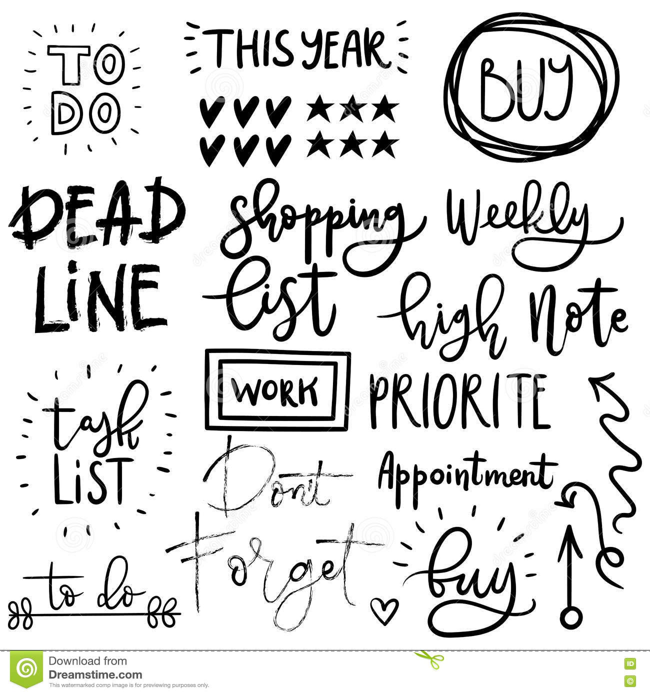 Set Of Cute Hand Drawn Diary Stickers. Stock Vector ...