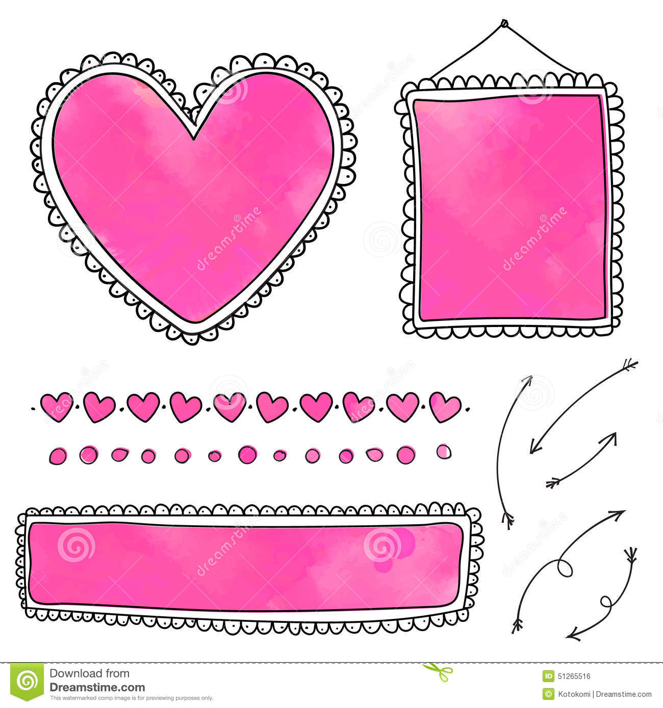 set of cute hand drawn frames and heart dividers stock