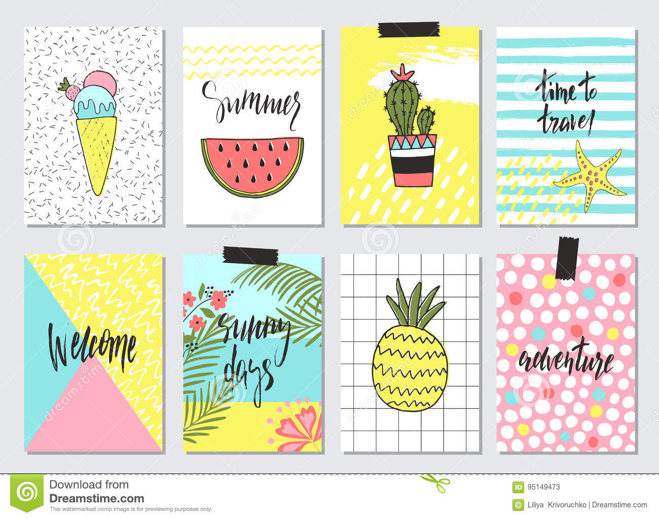 Set Of Cute Hand Drawn Summer Cards Background Holiday Travel Vacation Theme Wallpaperflyers Invitation Posterstemplates Brochure Tags Vector