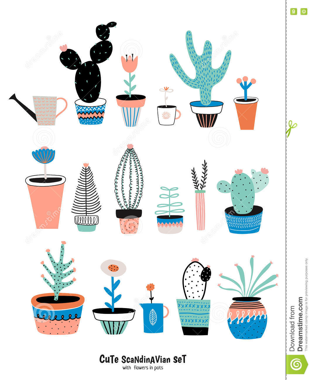 Set of cute house plants stock vector. Illustration of ...