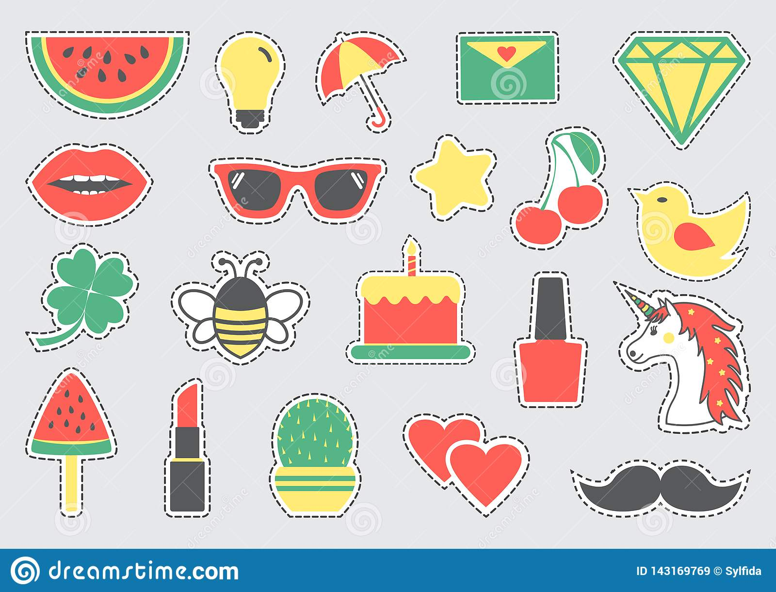 Set of cute icons with dotted lines. Vector illustration