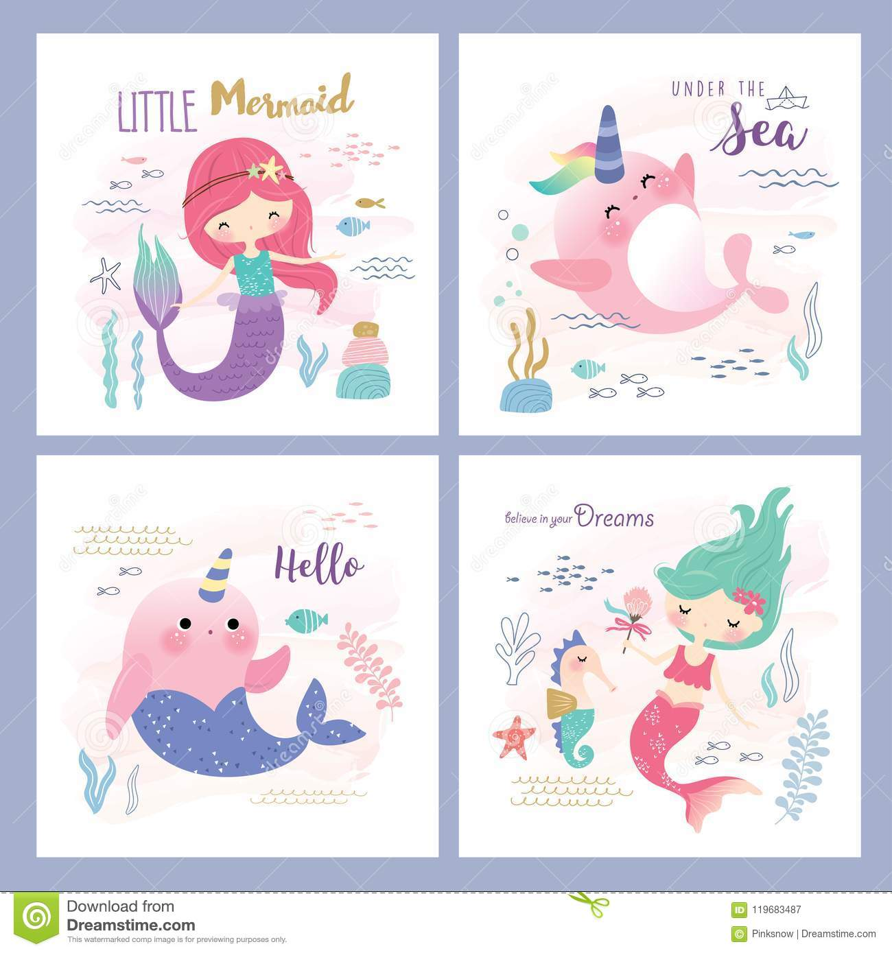 Kids Under The Sea Theme Greeting Card Design Stock Vector