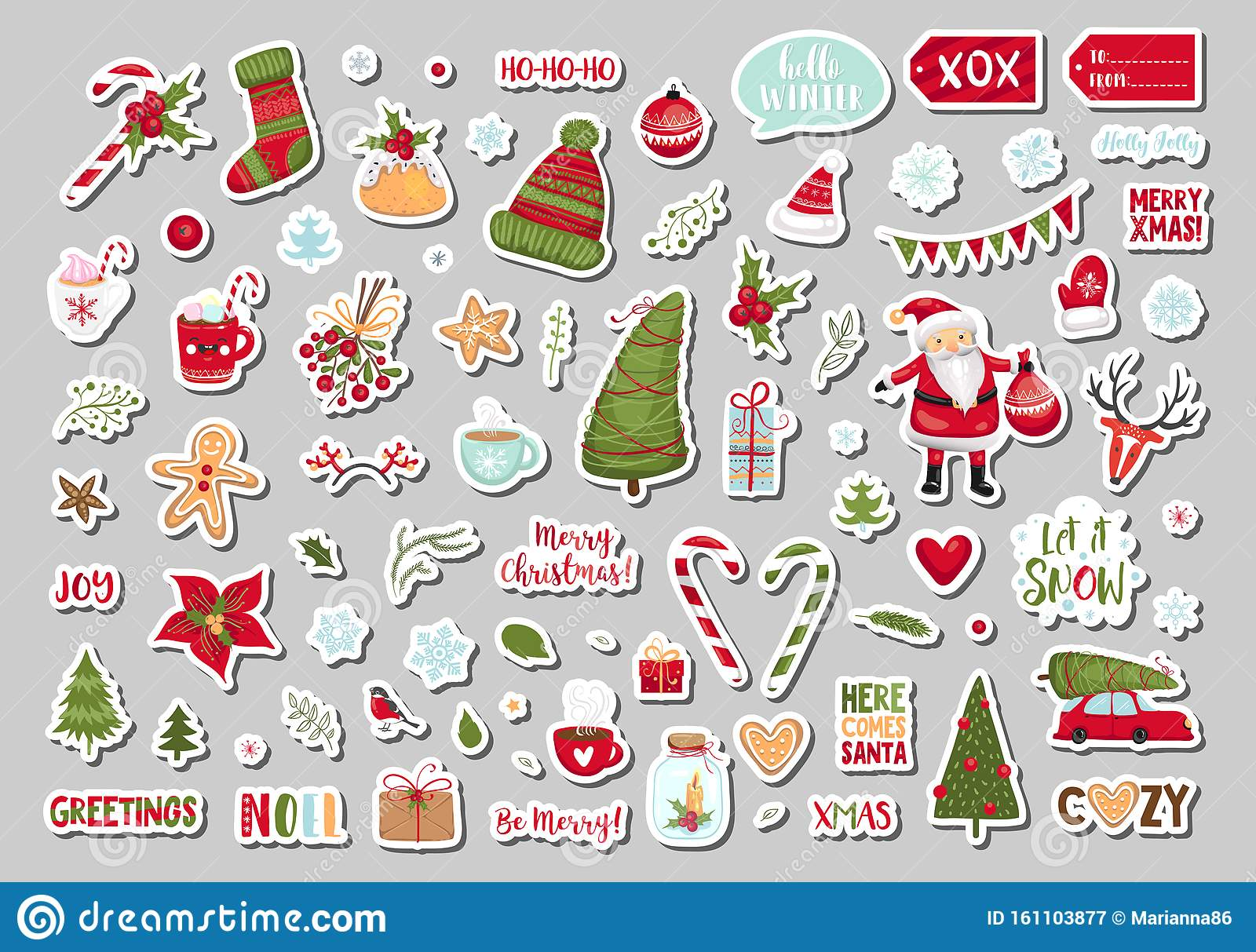 Set Of Cute Merry Christmas And Happy New Year Gift Tags Printable Holiday Cards Templates Labels Design Vector Stock Vector Illustration Of Cute Christmas 161103877