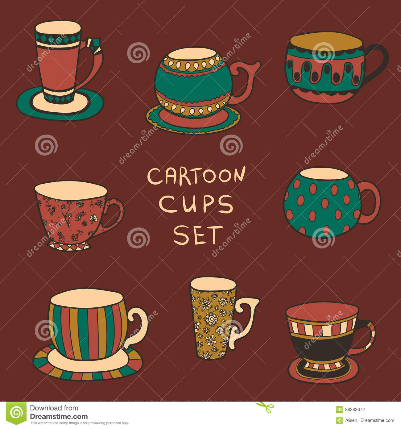 Set Of Cute Mug In Doodle Style Tea Or Coffee Cups Stock Vector Illustration Of Break Doodle 88282672