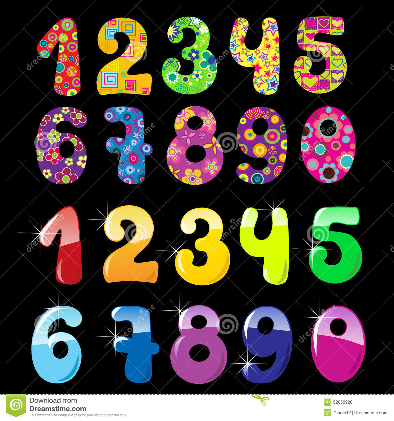 Set Of Cute Numbers Stock Vector Illustration Of Note
