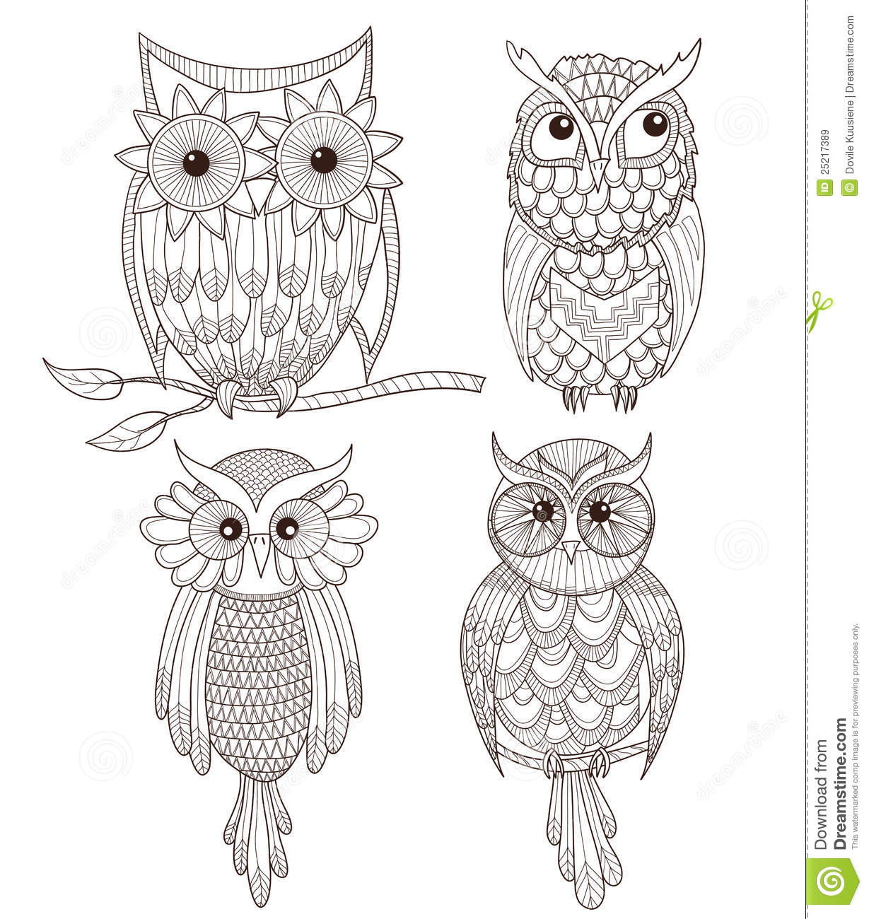 set of cute owls stock vector illustration of background 25217389