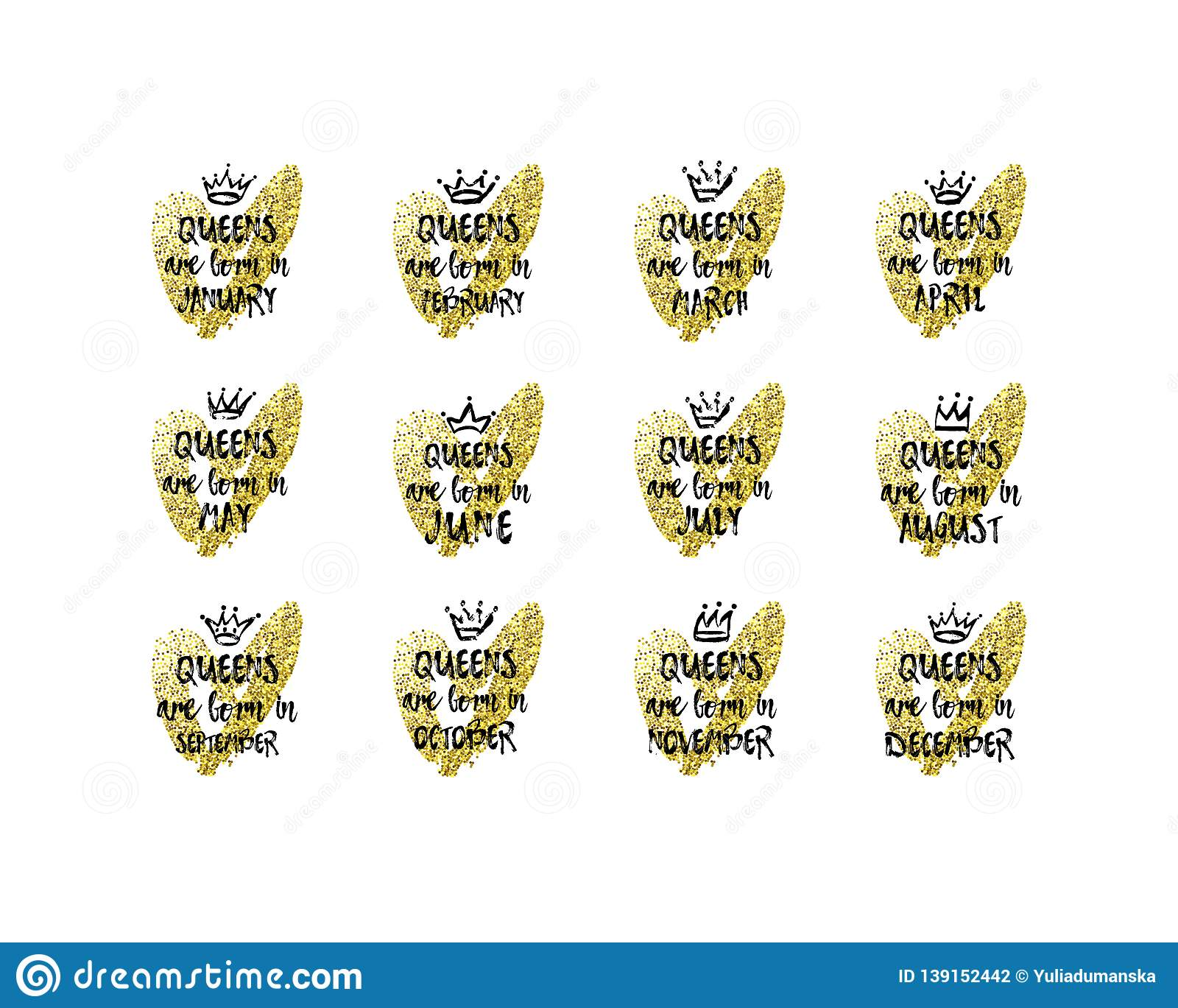 9f77c0cd Set of cute phrase Queens are born in January, February, March, April, May,  June, July, August, September, October, November, December with hand drawn  crown ...