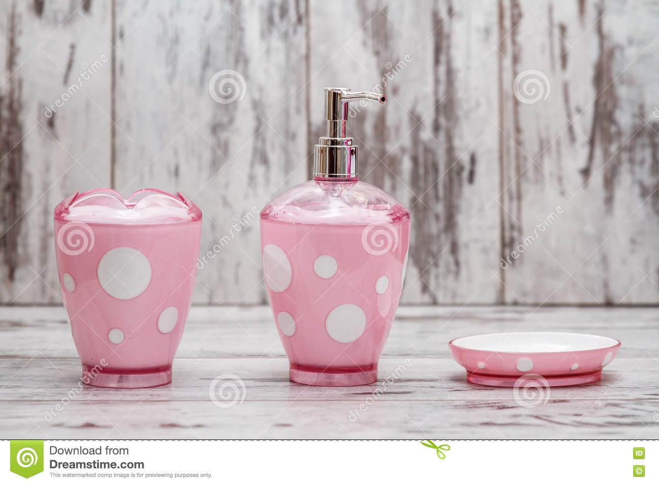 Set Of Cute Pink Bathroom Accessories