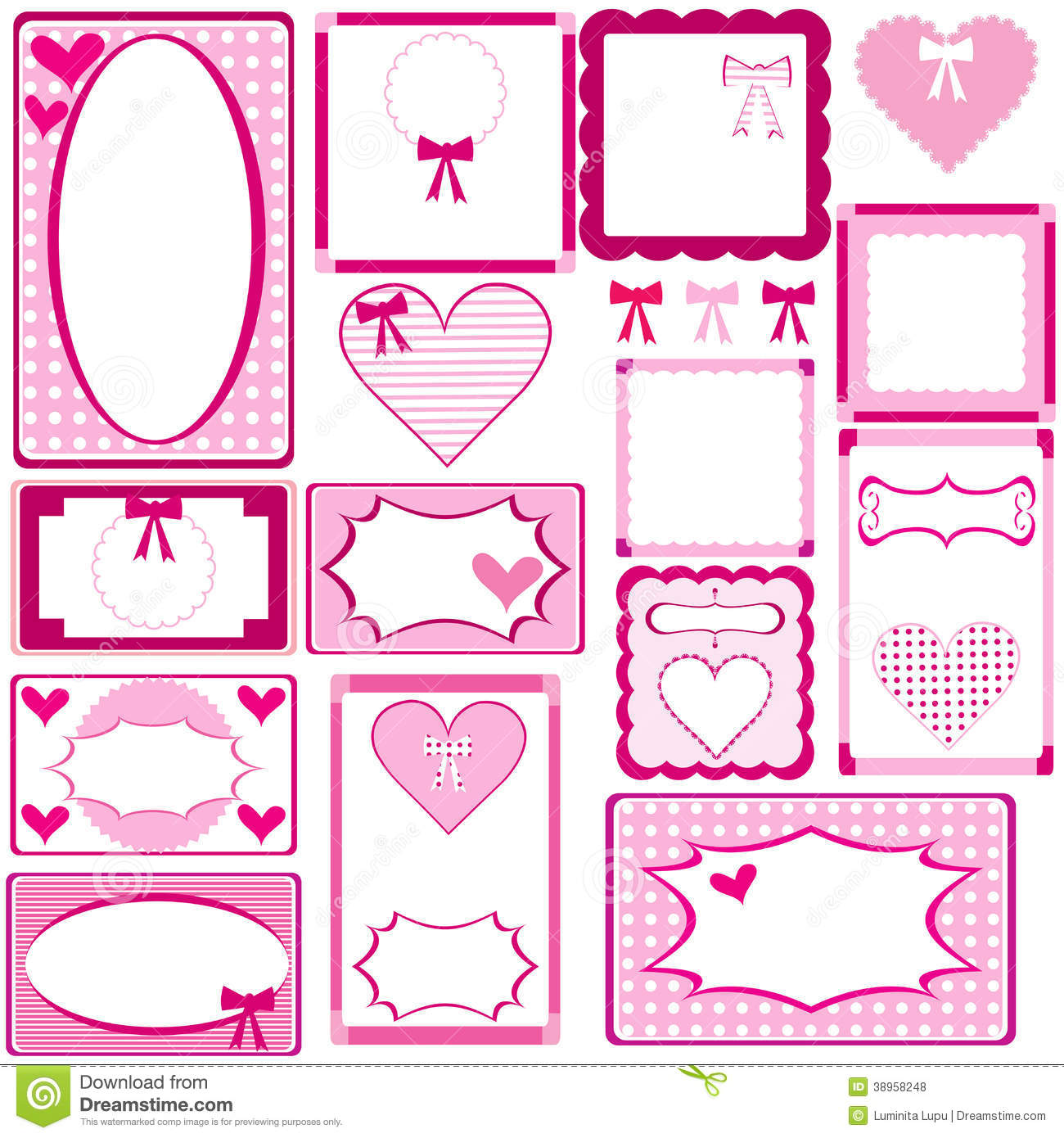 Set Of Cute Pink Frames For Girls Stock Illustration - Illustration ...