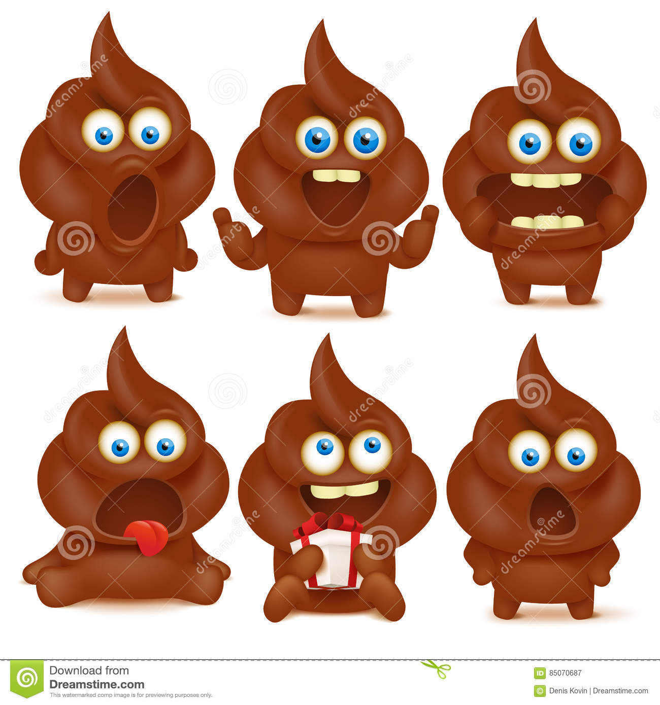 Cute Poop And Pee Characters Vector Illustration
