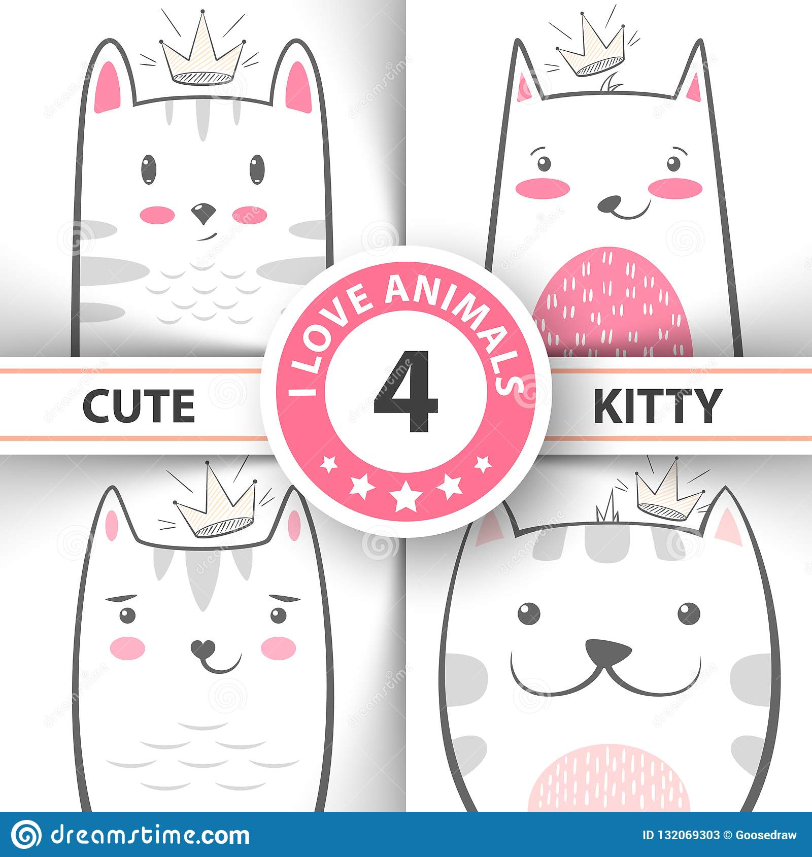Set Cute Pretty Cat And Kitty Characters Stock Vector
