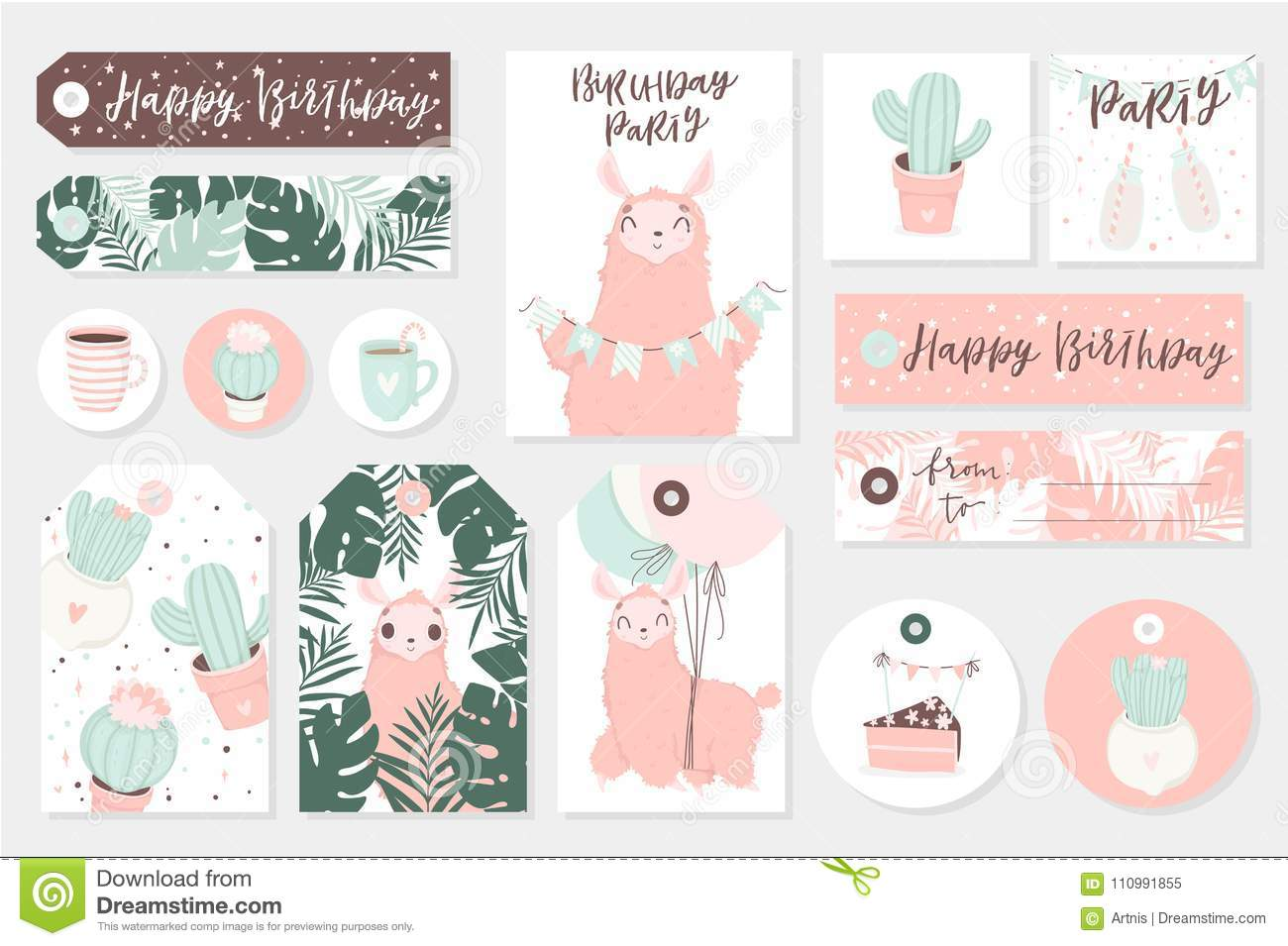 image relating to Cute Gift Tags Printable known as Established Of Adorable Organized-in the direction of-hire Reward Tags, Playing cards And Sticers With