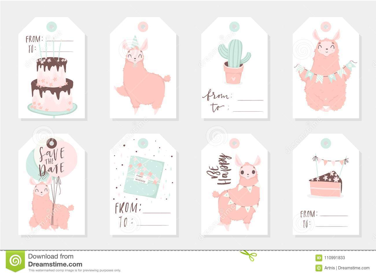 Cute Tags: Set Of 8 Cute Ready-to-use Gift Tags With Lamas Editorial
