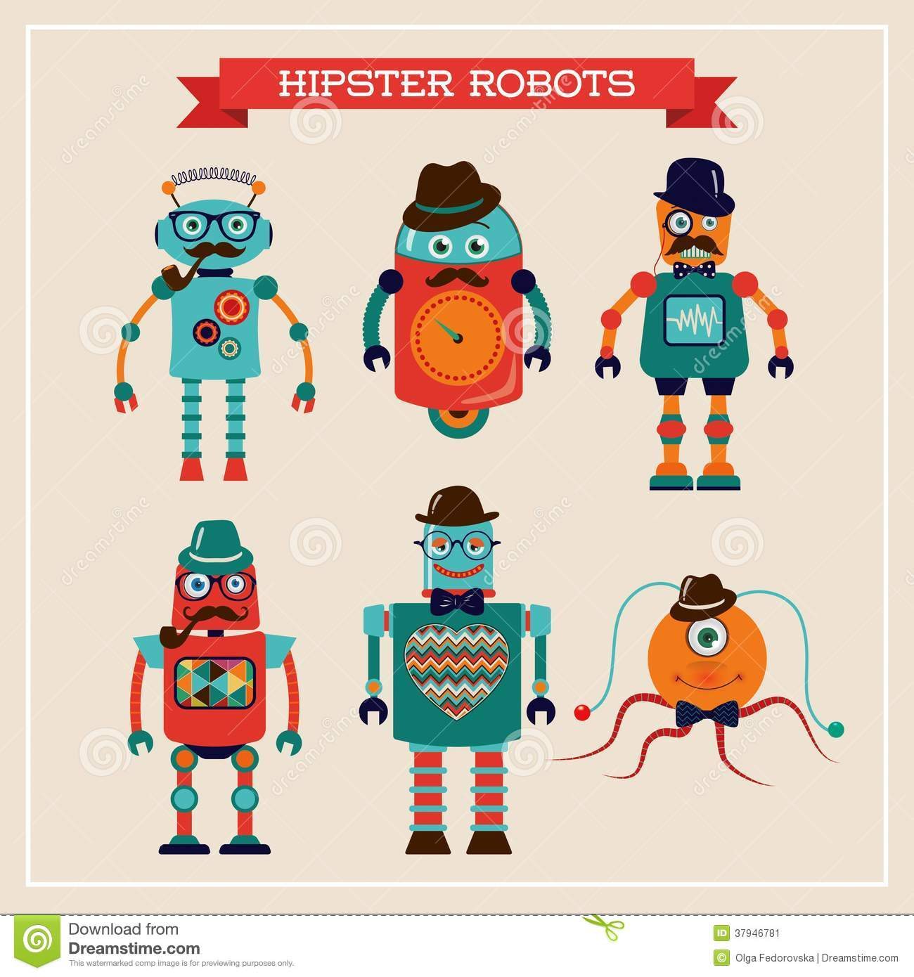 Classic Retro Illustration: Set Of Cute Retro Vintage Hipster Robots Stock Vector