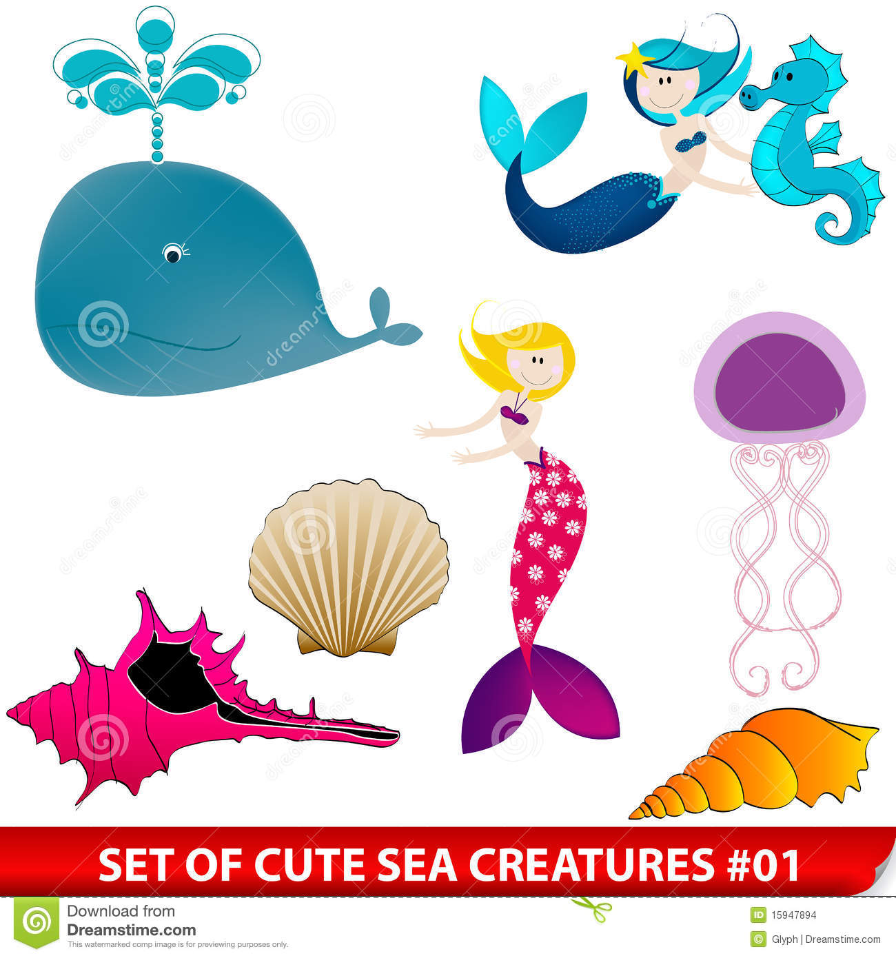 Set Of Cute Sea Creatures Stock Images Image 15947894