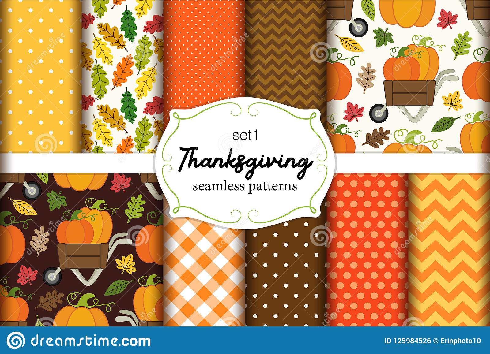 Set Of 10 Cute Seamless Thanksgiving Patterns With Pumpkins