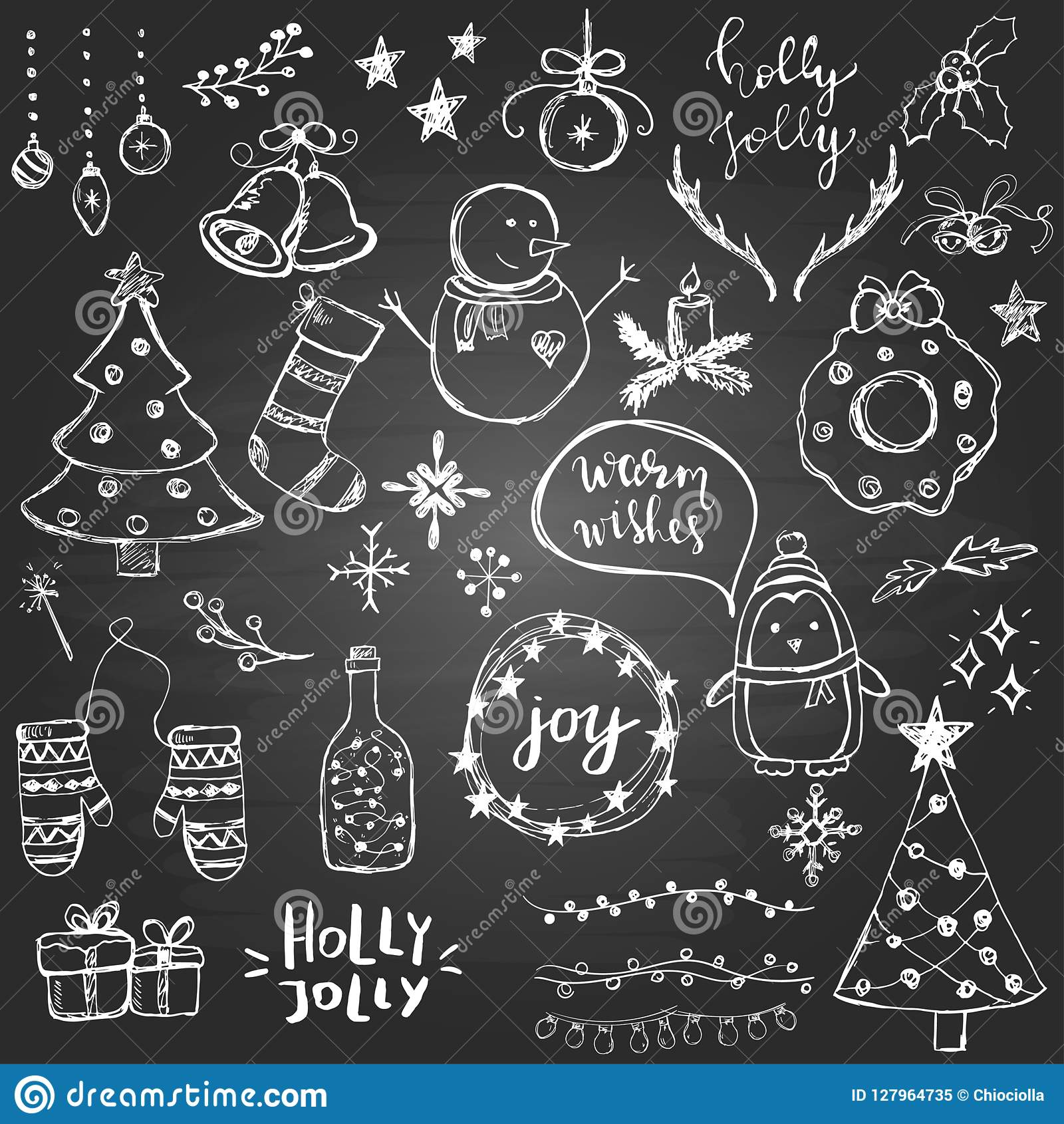 Set Of Cute And Simple Hand Drawn Christmas Elements On The