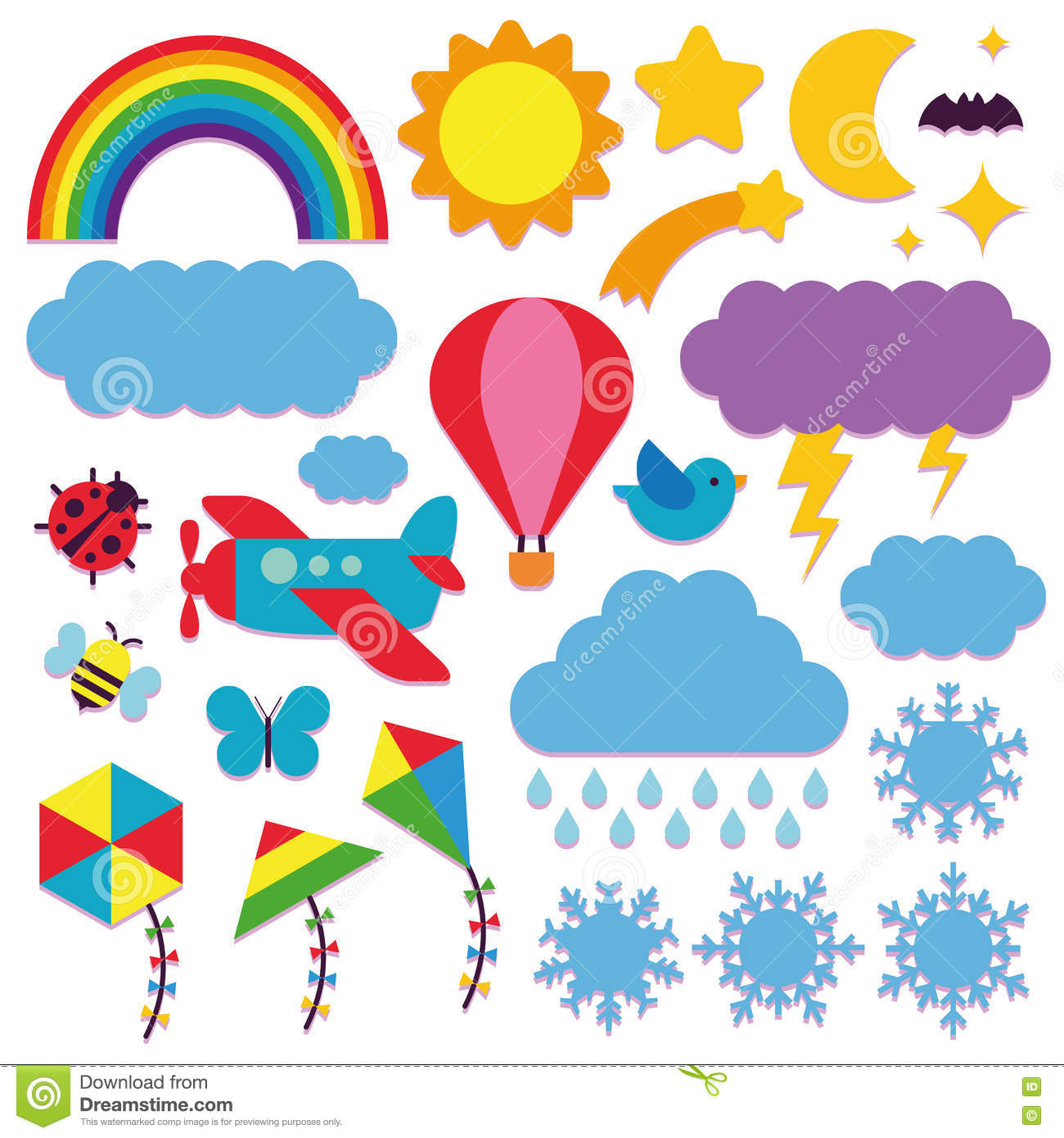 set of cute sky icons isolated stock illustration illustration of