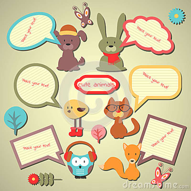 Set Of Cute Speech Bubbles With Animals Stock Vector