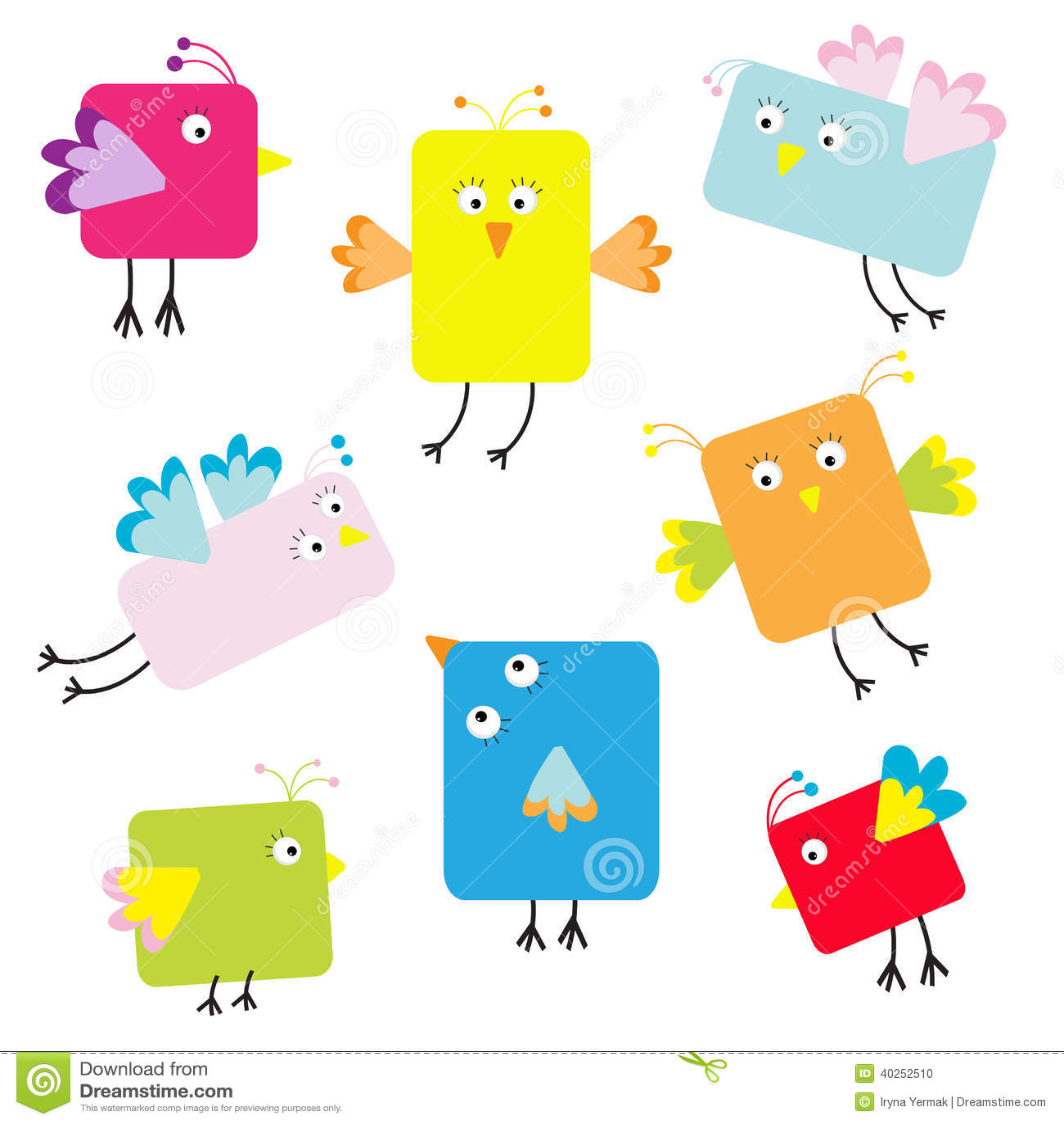 Set Of Cute Square Cartoon Birds Stock Vector