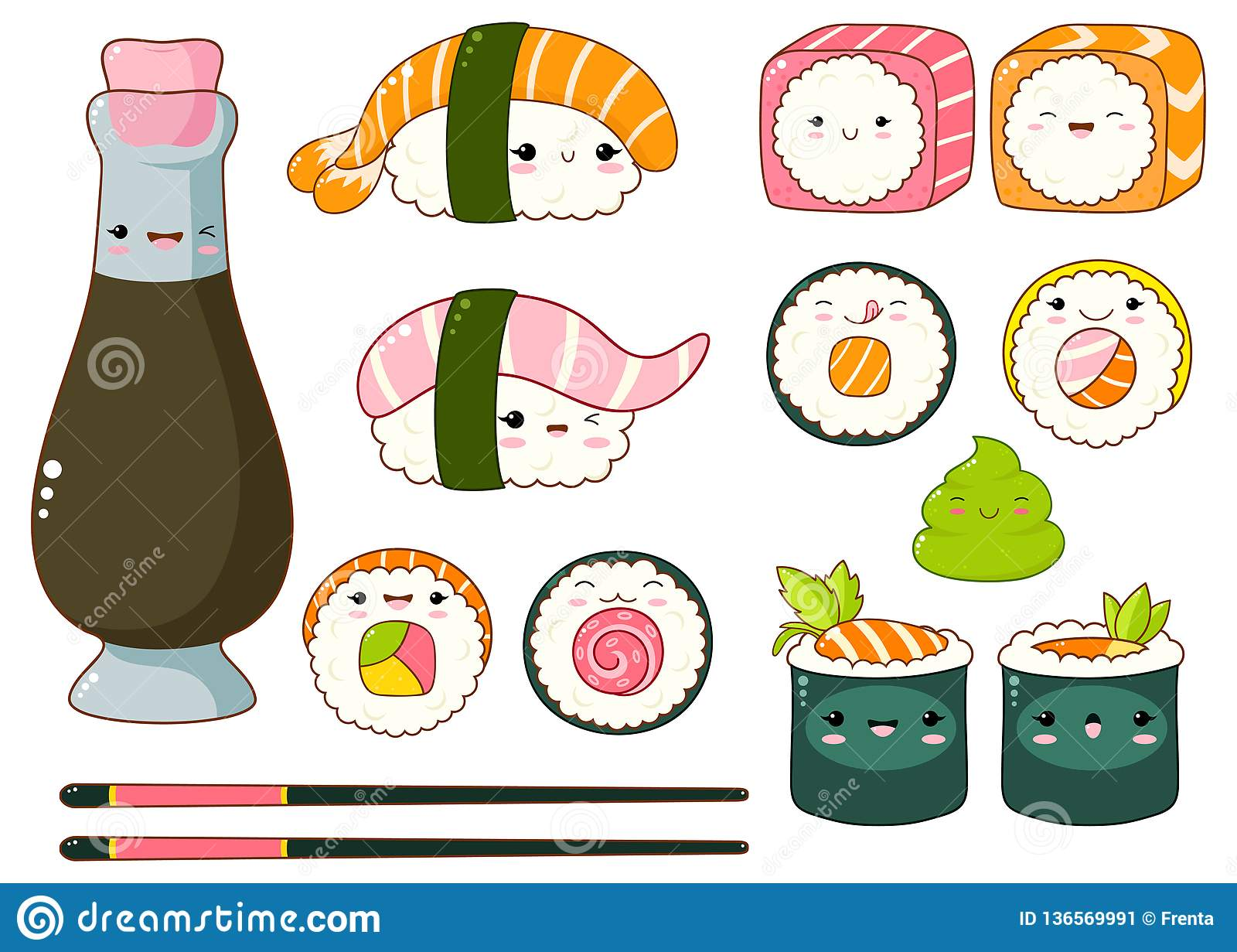 Set Of Cute Sushi And Rolls Icons In Kawaii Style Stock