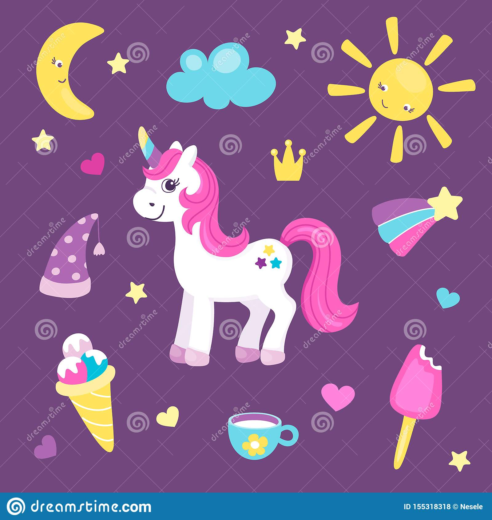 Set Of Cute Unicorn Or Beautiful Horse With Different Cute Items Sun And Moon Rainbow And Ice Cream Pretty Pony For Stock Vector Illustration Of Horse Colorful 155318318
