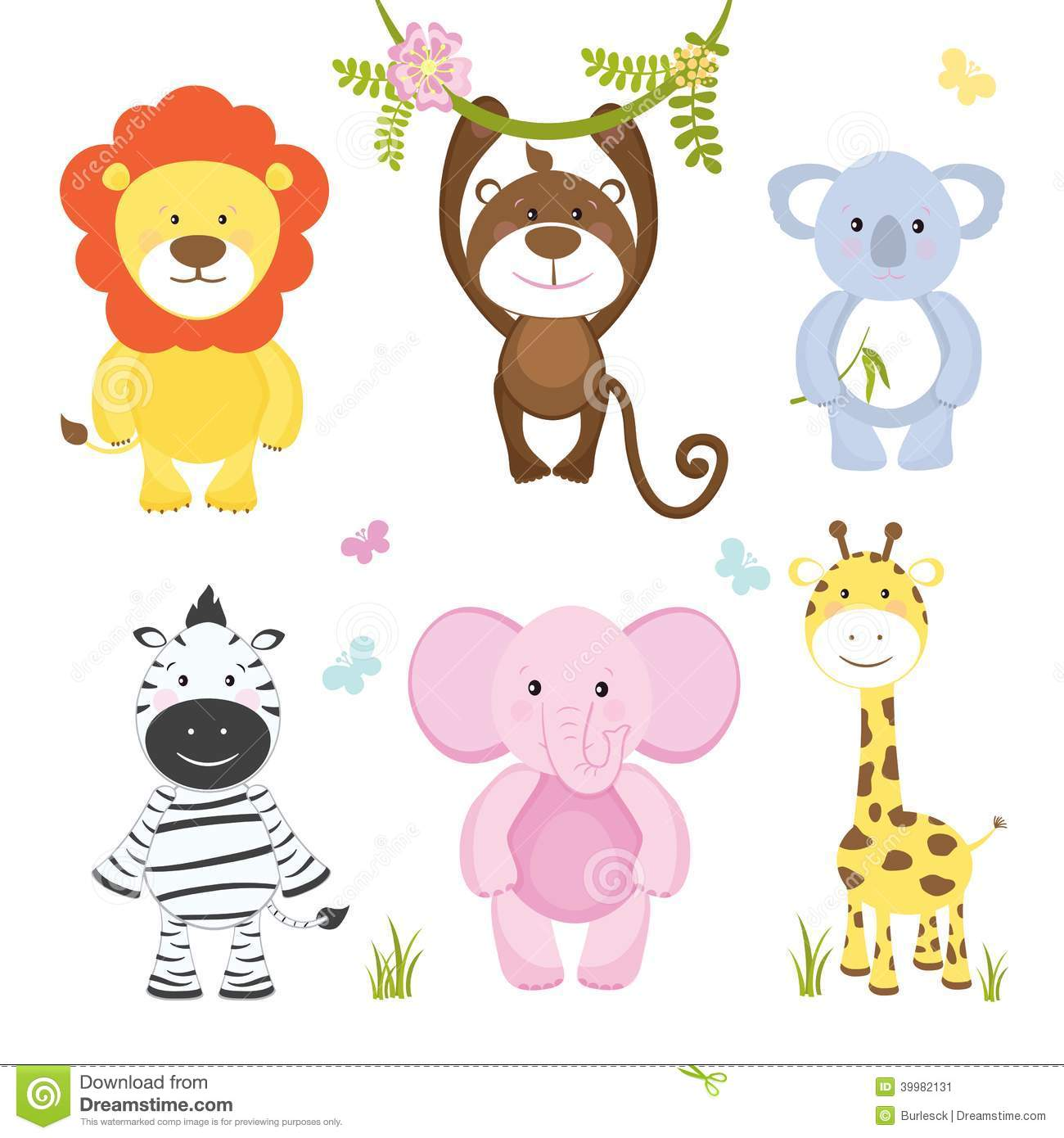 Set of cute vector cartoon wild animals with a monkey hanging from a ...
