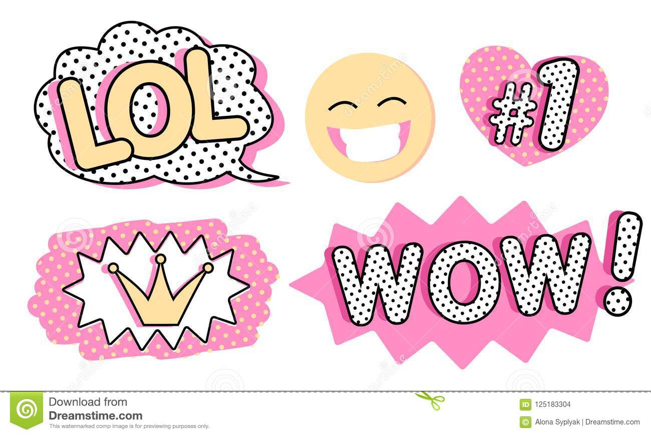 Set Of Cute Vector Stickers  Bubble For Text, Princess Crown
