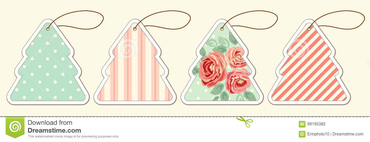 set of cute vintage christmas price tags in shabby chic style stock