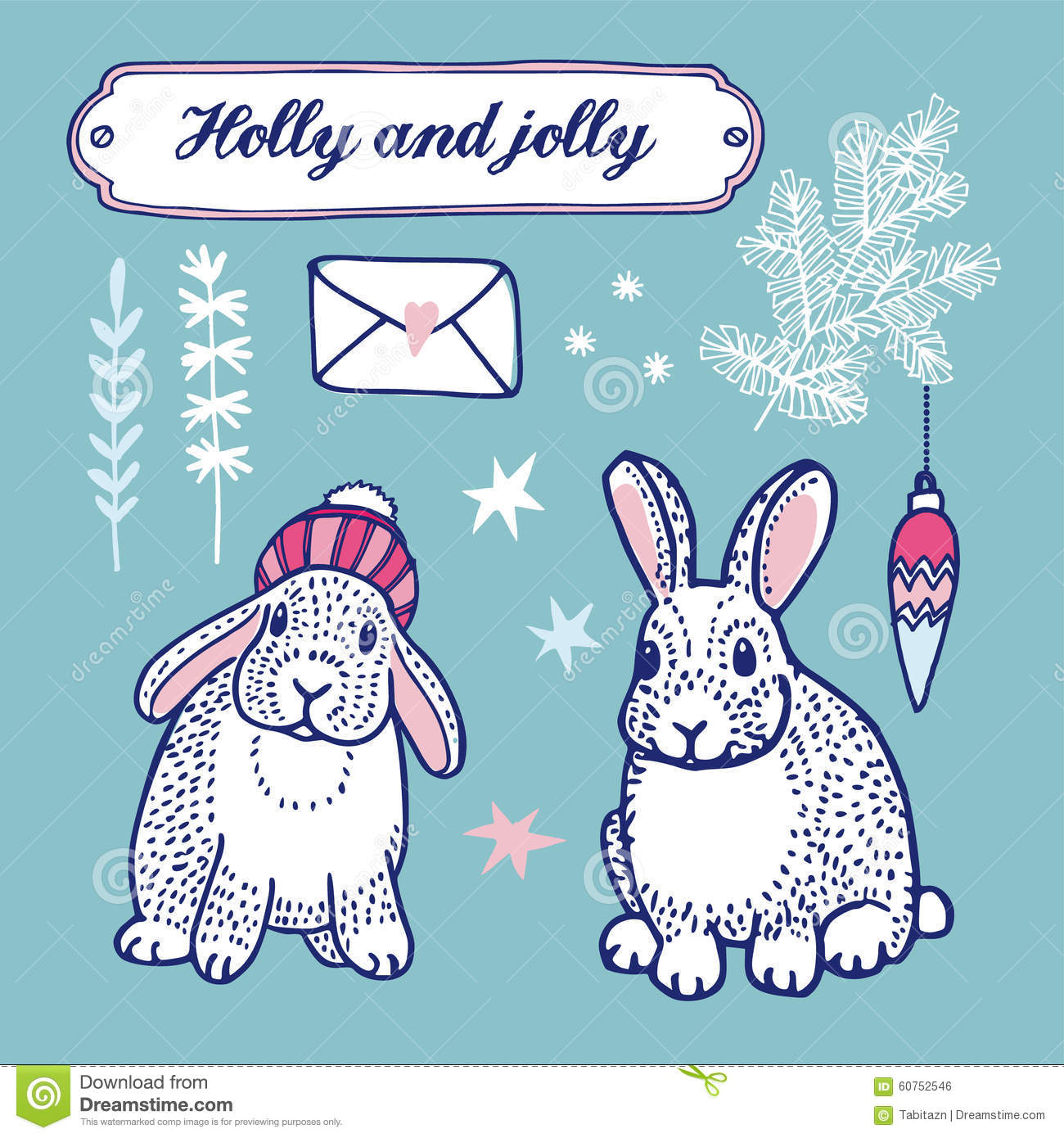 set of cute winter and christmas drawings bunnies tree branches