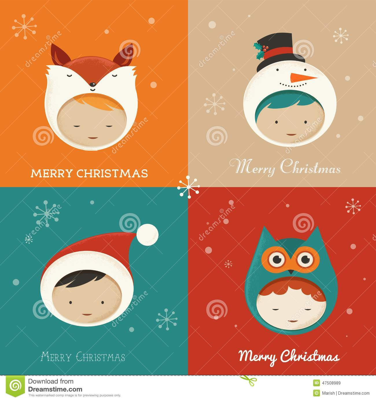 Set Of Cute Xmas Cards Stock Vector Illustration Of Retro 47508989