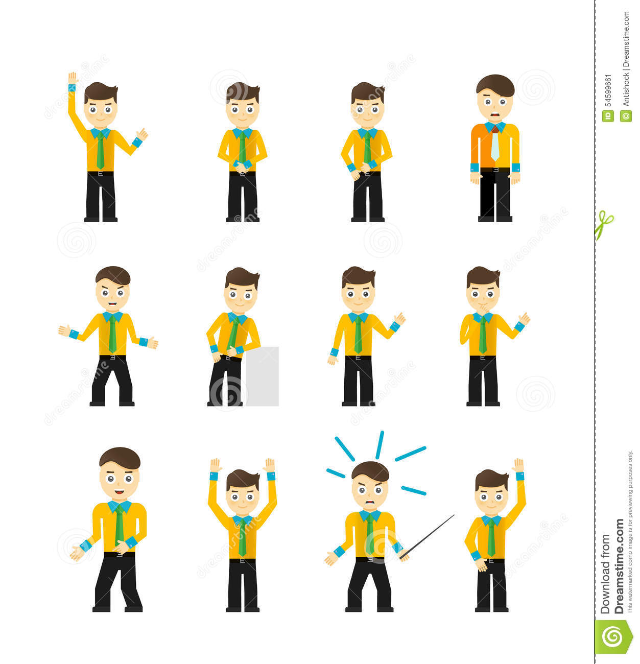 Character Design Job Requirements : Set of cute young businessmen character poses cartoon