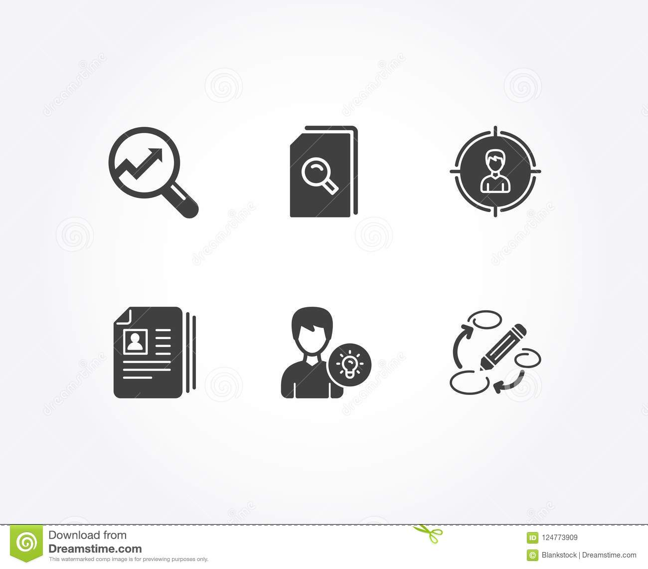 cv documents analytics and person idea icons search files