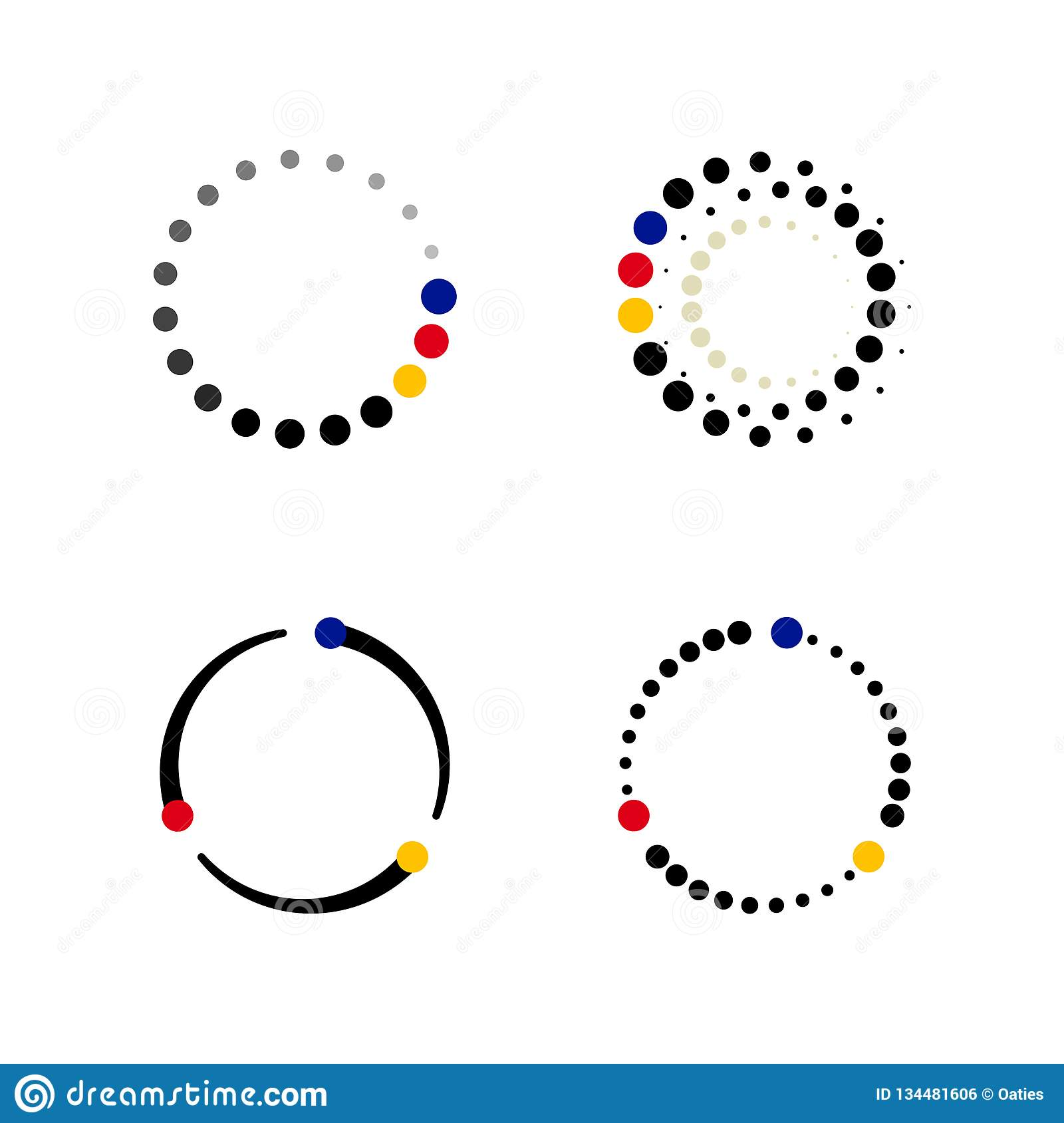 Set Of Cycle Data Tech Background Stock Vector
