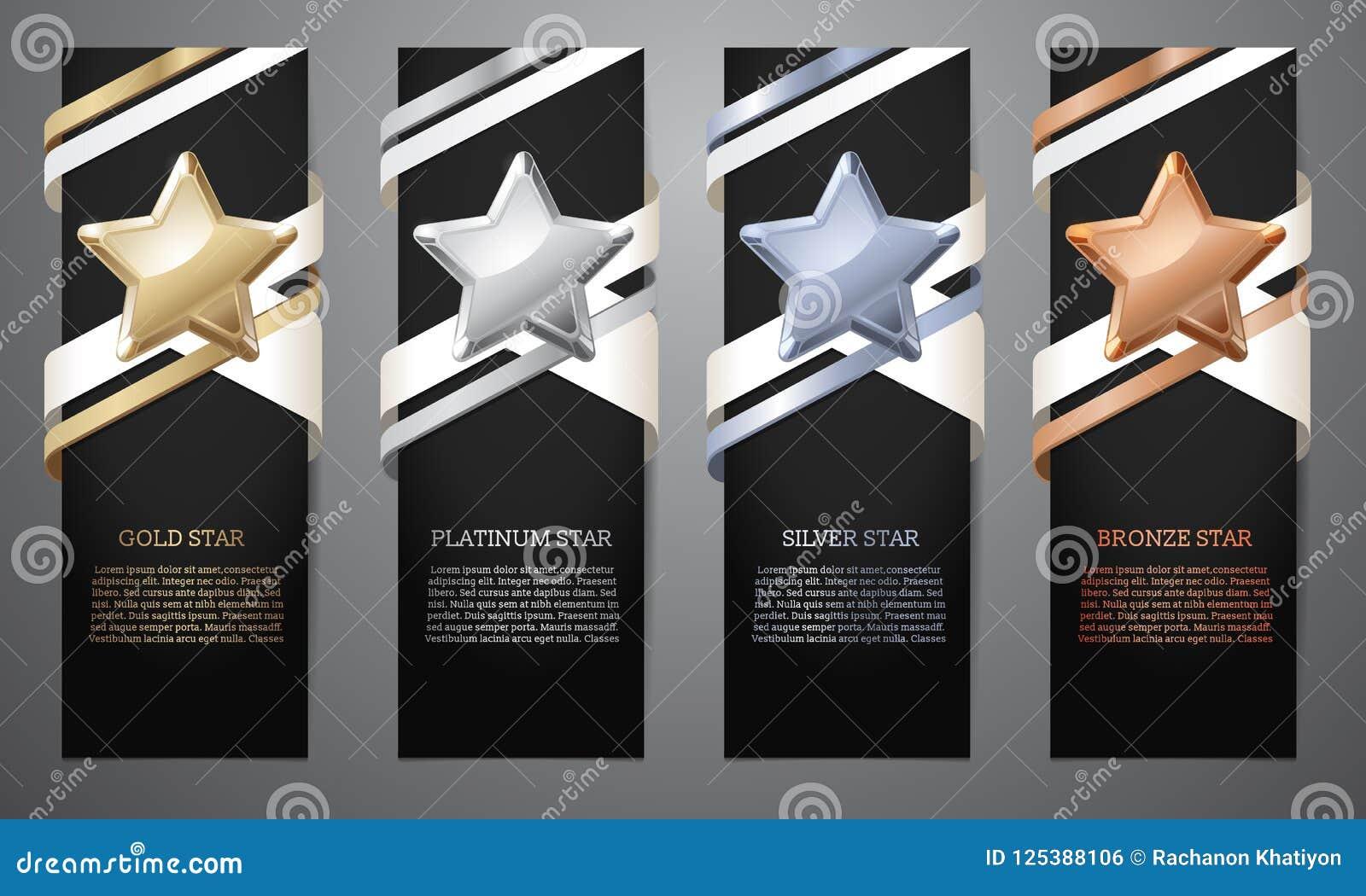 Set czarni sztandary, złoto, platyna, srebro i brąz, gramy główna rolę, Ve