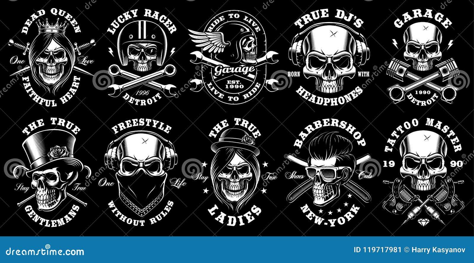 Set czarny i biały czaszki