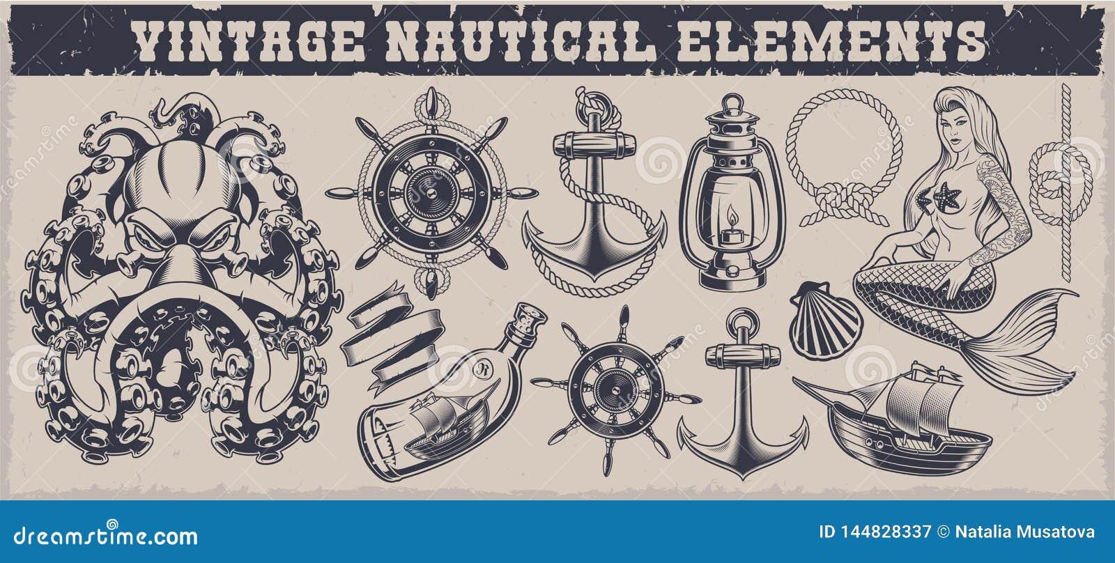 Set czarny i biały rocznika nautyczni elementy