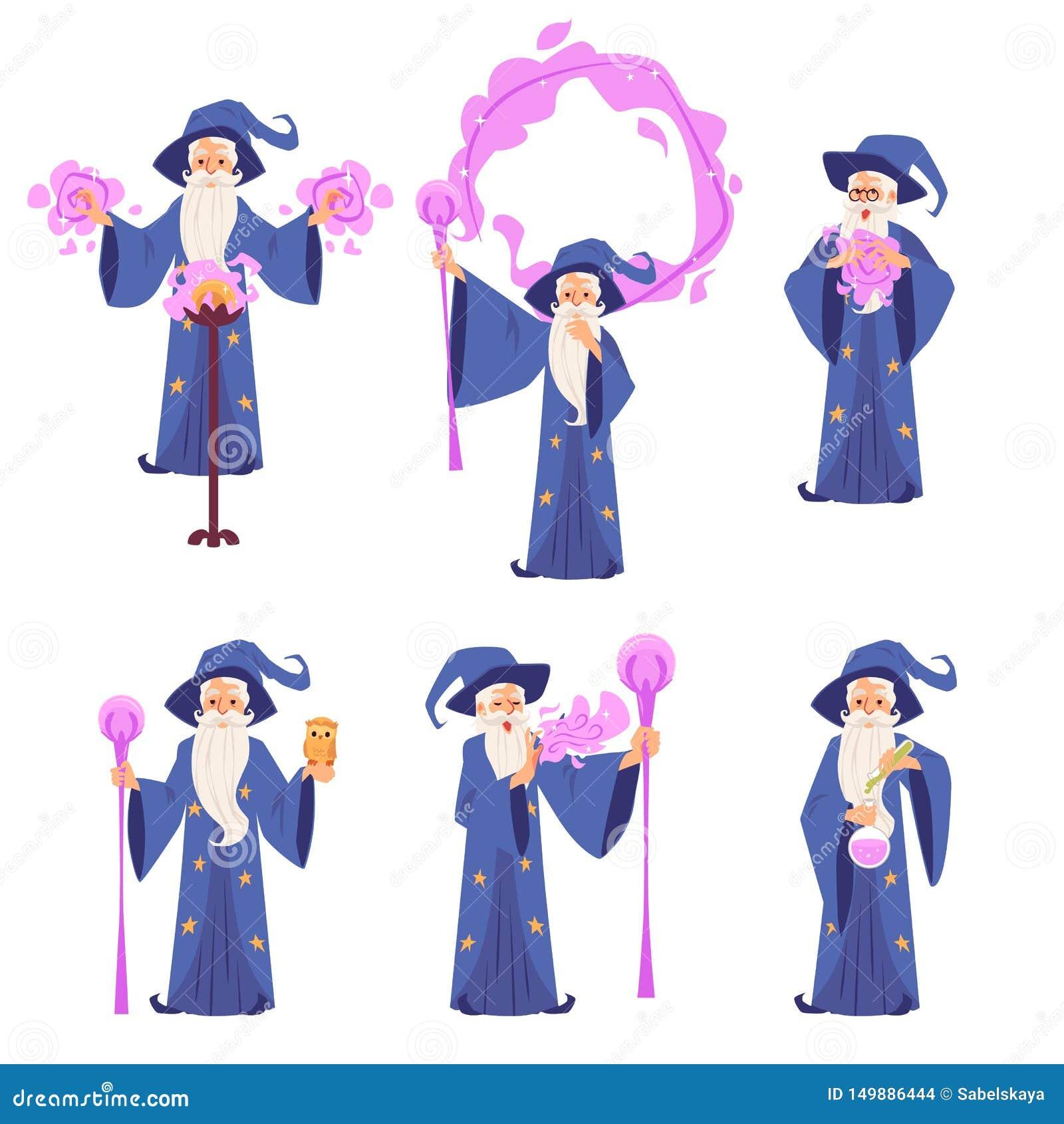 Set czarowników mężczyźni w kontuszu i kapeluszu stoi projektować robić magicznej kreskówce