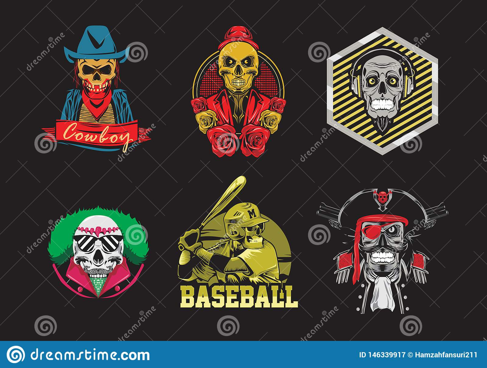 Set czaszki koszulki projekta wektoru ilustracja