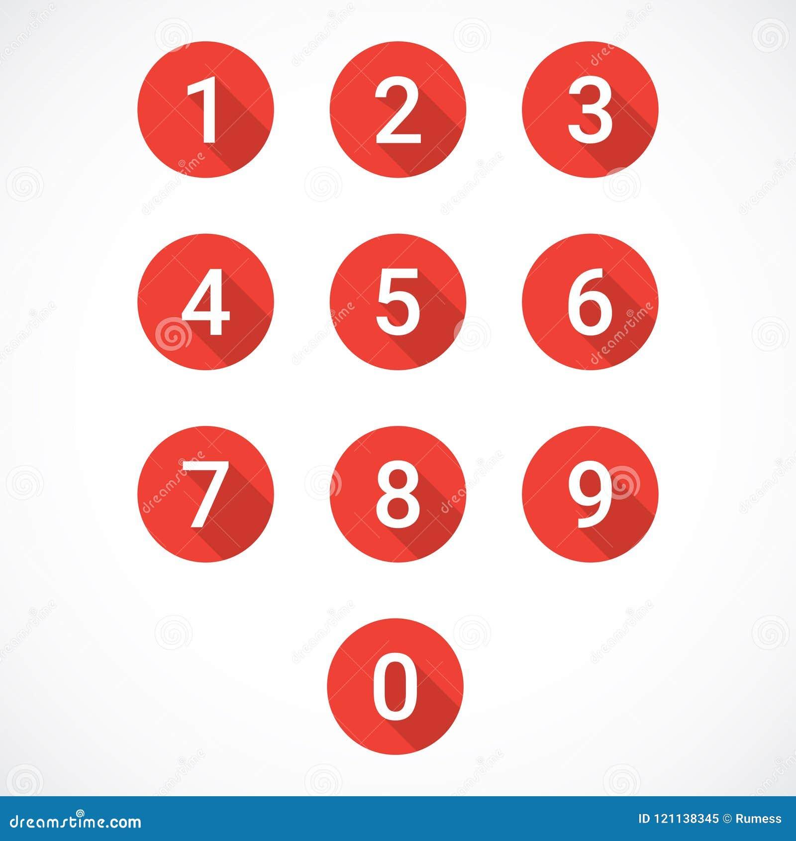 Set czerwieni liczby ikony