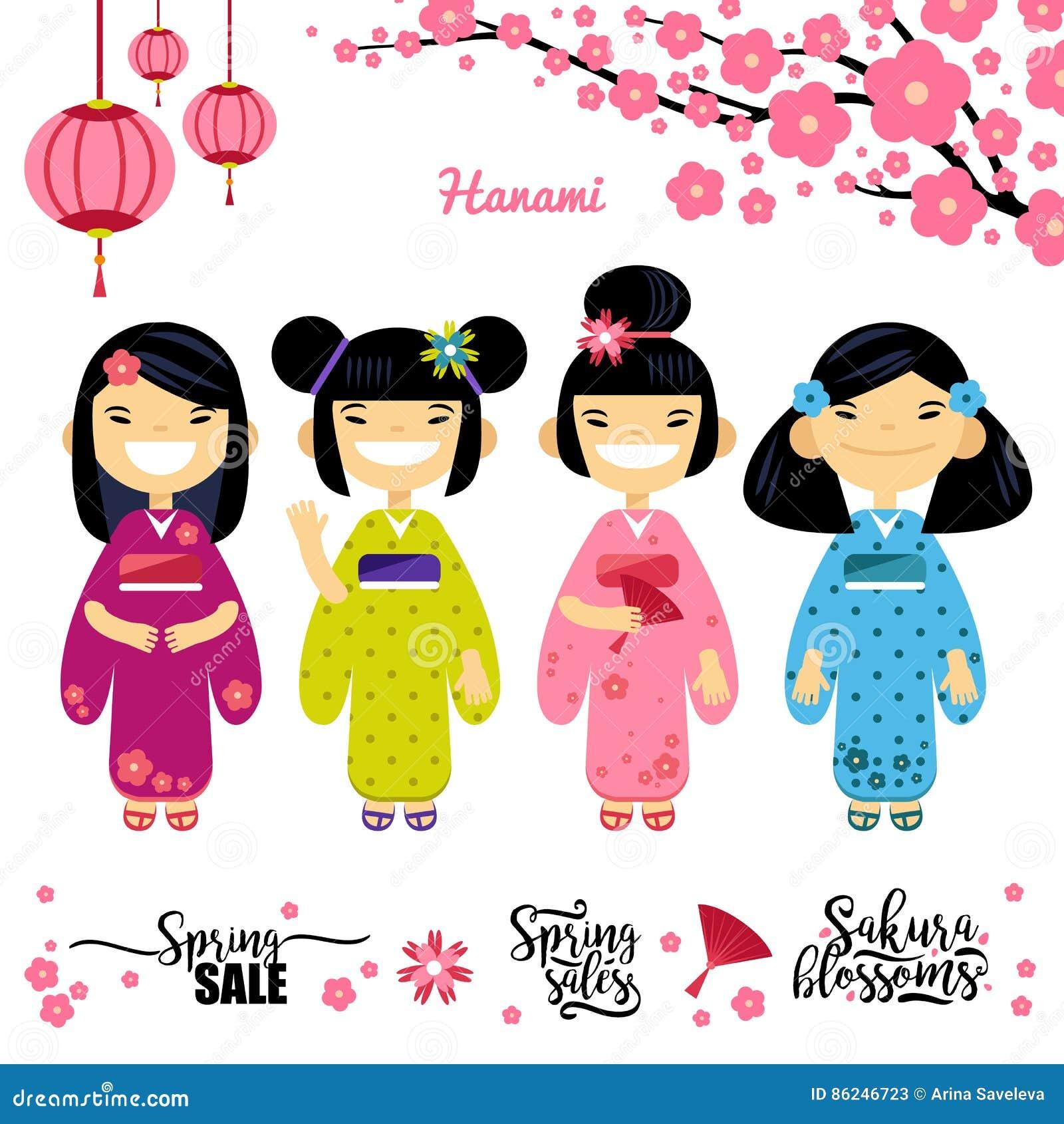 Set cztery azjata dziewczyna, Sakura, wiosna rabaty Elementy dla han festiwalu, Sakura okwitnięcia sezon wektor
