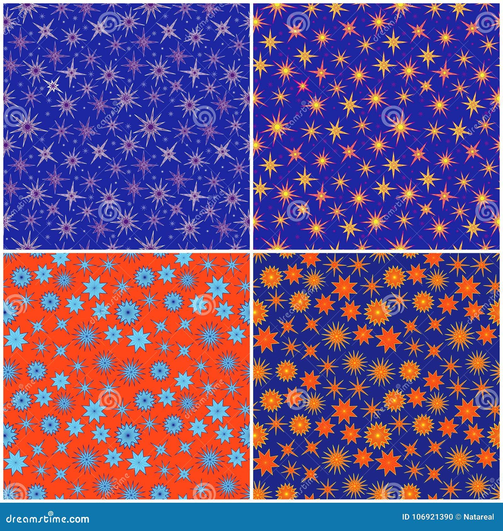Set Cztery Bezszwowego koloru wzoru z gwiazdami