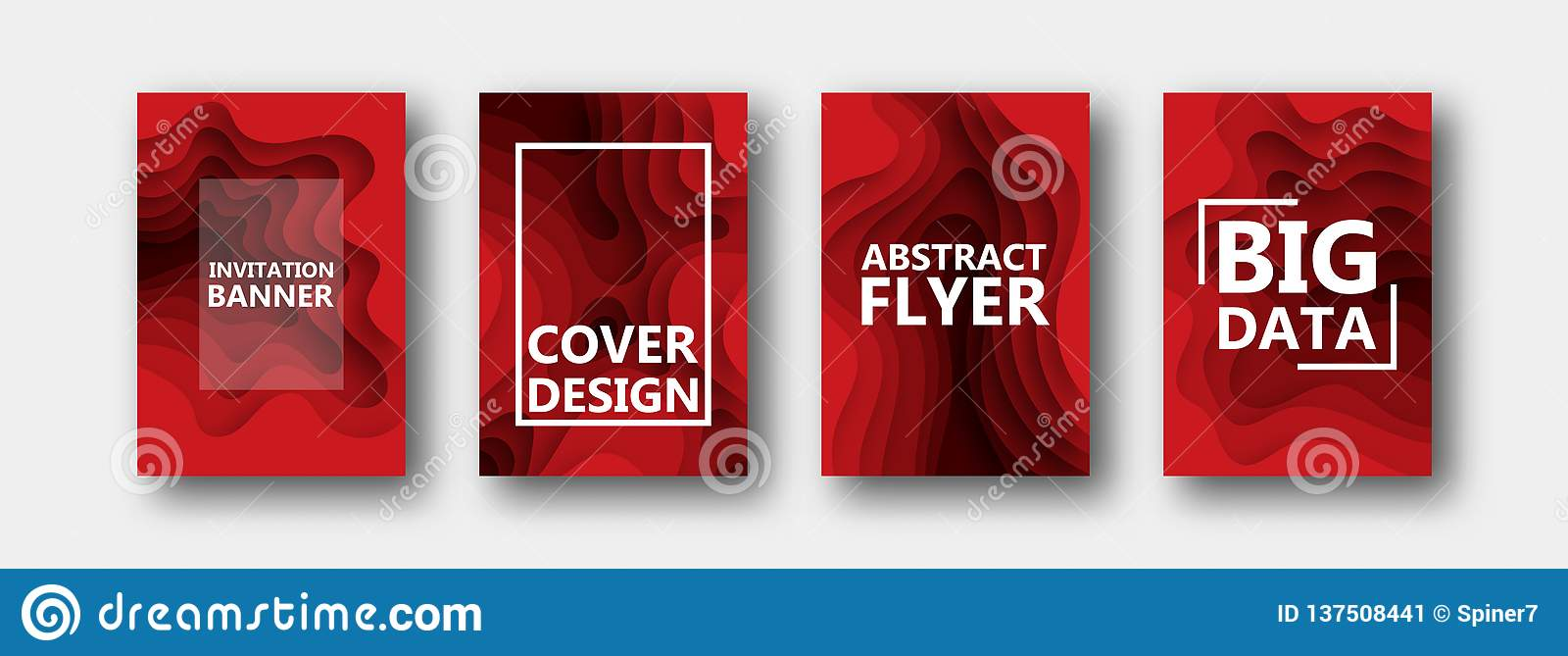 Set cztery opcji dla sztandarów, ulotki, broszurki, karty, plakaty dla twój projekta w czerwonych kolorach,