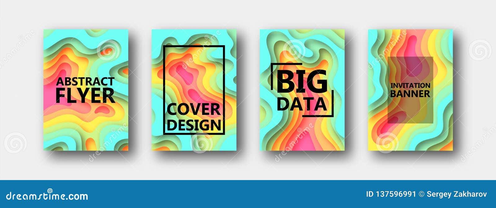 Set cztery opcji dla sztandarów, ulotki, broszurki, karty, plakaty dla twój projekta w stubarwnych brzmieniach,
