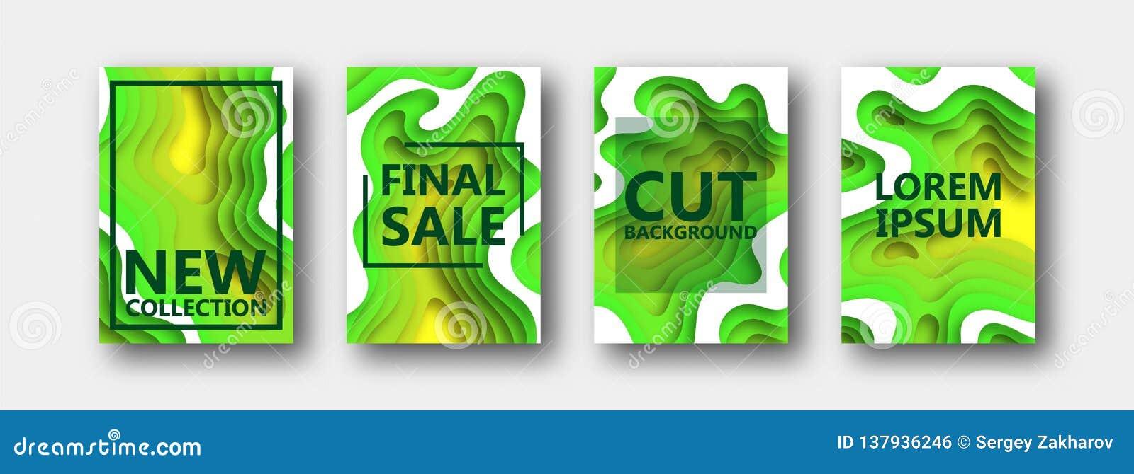 Set cztery opcji dla sztandarów, ulotki, broszurki, karty, plakaty dla twój projekta w zielonożółtych brzmieniach,