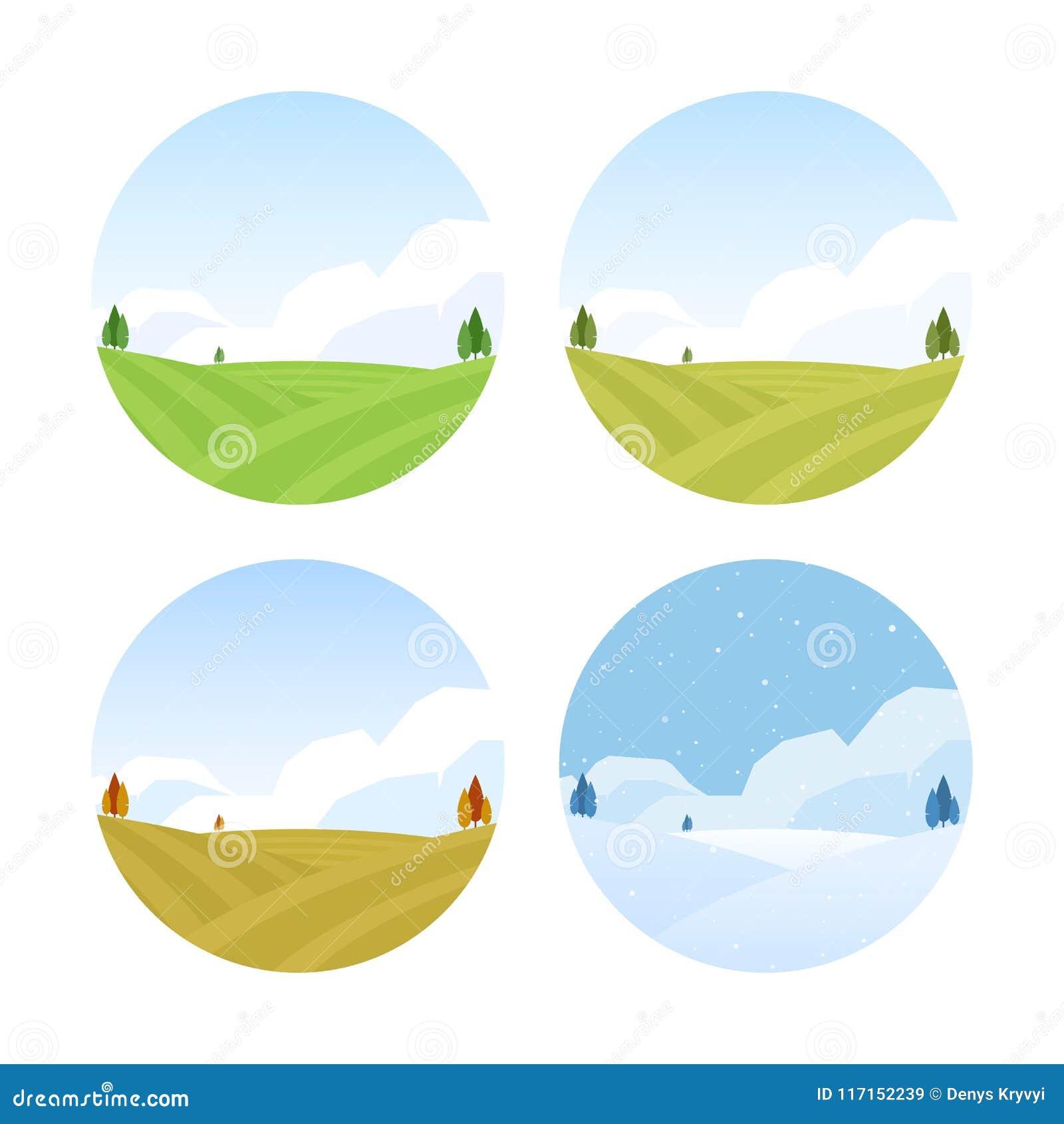 Set Cztery sezonów Wiejski krajobraz z polami jesień wiosna lato zima
