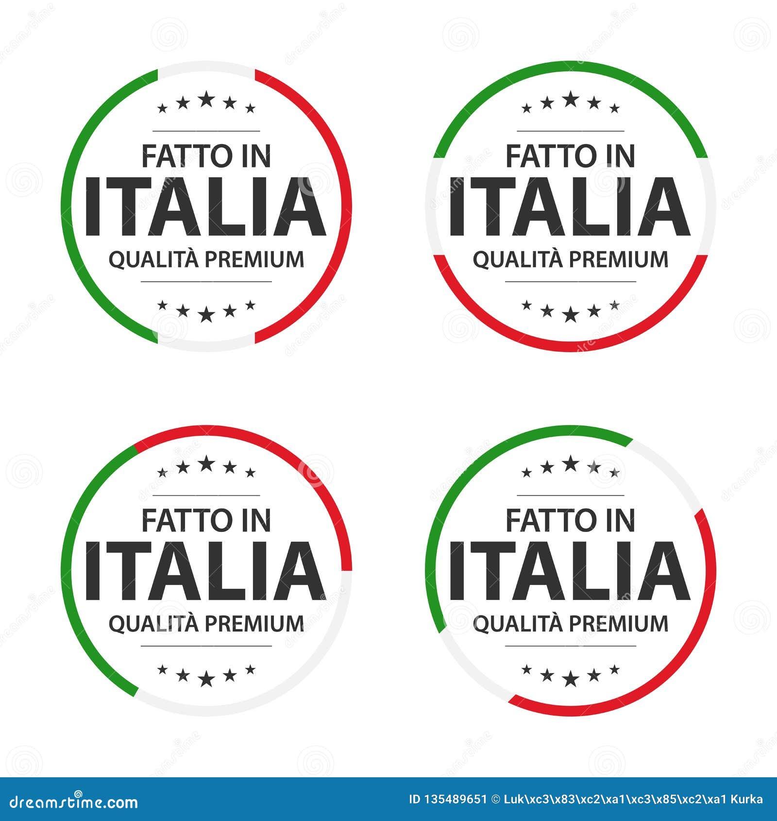 Set cztery Włoskiej ikony, włoszczyzna tytuł Robić w Włochy, premii ilości majchery i symbole,