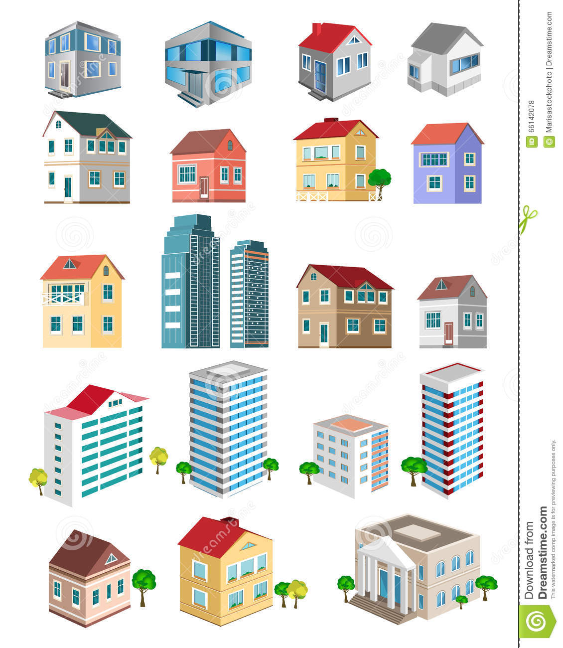Set of 3d detailed buildings with different types of for Types of homes to build