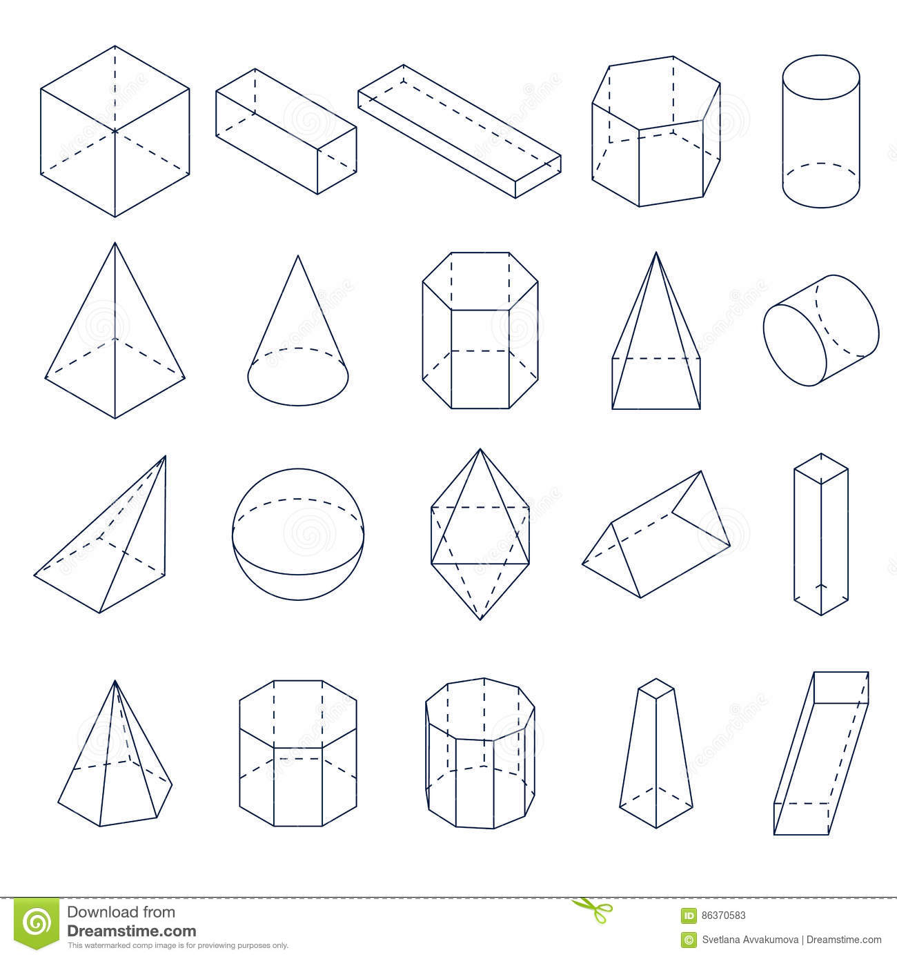 A Set Of 3D Geometric Shapes  Isometric Views  Stock Vector